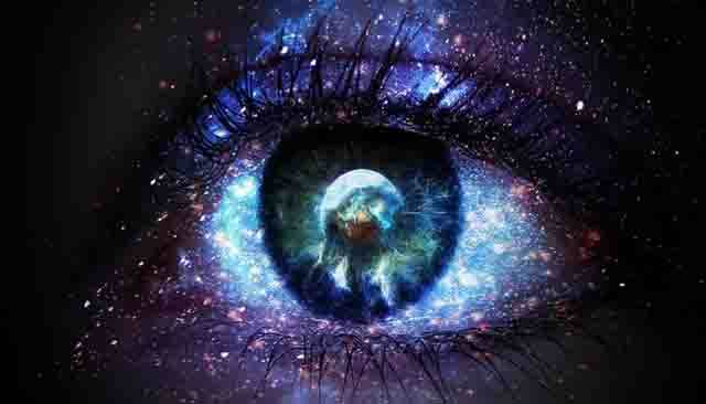 This image is a close-up of a human eye…artistically rendered to appear as if it is a vast, cosmic eye, made up of many galaxies and nebula…as if it were the eye of the cosmos itself…
