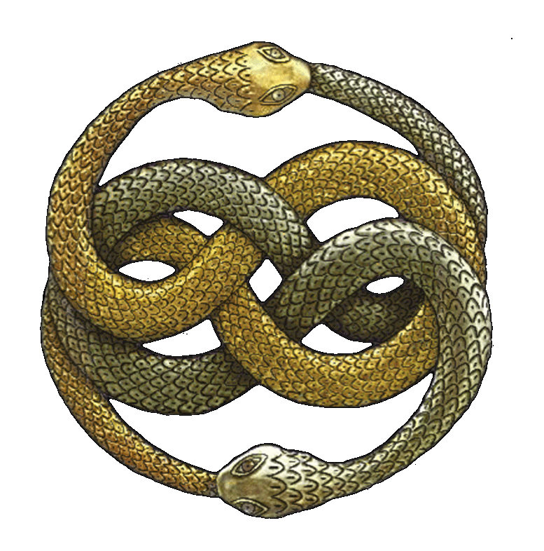 The NeverEnding Story (by Michael Ende) features a talisman known as AURYN, which is distinctly reminiscent of the Ouroboros—a serpent, shaped in a circle, eating its own tail. Auryn, however, features two serpents, entwined in a symmetrical 'celtic' knot, each biting the other's tail.