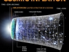Infographic depicting the big-bang, cosmic inflation, and the expansion of the universe