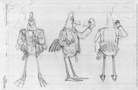Personal: Sanders ~ Character Turnarounds ~ Rough Pencil Illustration ~ Spring 2008