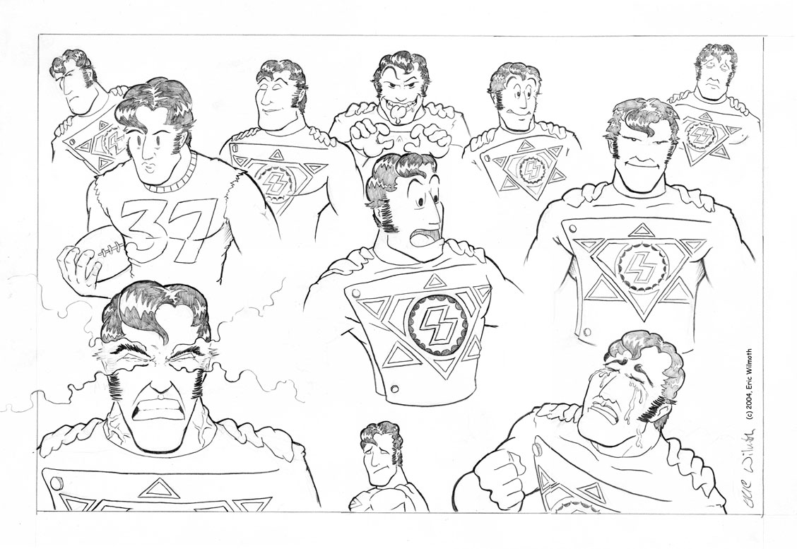 Personal: World's Ginchiest, Solar Powered Man ~ Character Expressions ~ Pencil Illustration ~ Spring 2004