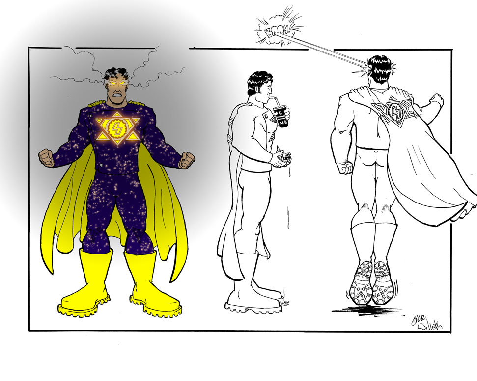 Personal: World's Ginchiest, Solar Powered Man ~ Character Turnarounds ~ Pencil & Ink Illustration + Digital Colors ~ Spring 2004