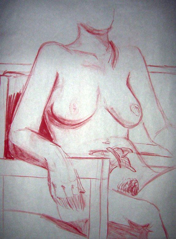 "Exercise: Mari - Figure Study ~ 18"" x 24"" Conte Crayon Illustration on Newsprint - Fall 2003 - Lansing Community College, Lansing, MI"
