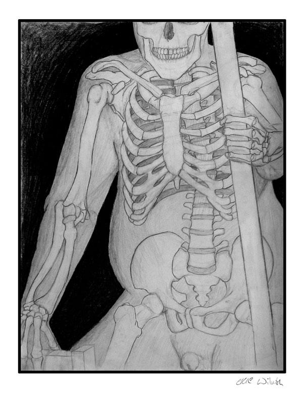 "Exercise: Skeleton - Figure Study - 18"" x 24"" Pencil & Conte Crayon Illustration - Fall 2003 - Lansing Community College, Lansing, MI"