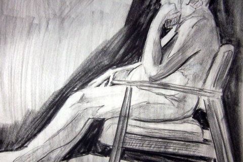 "Exercise: Figure Study1 ~ 18"" x 24"" Conte Crayon Illustration on Newsprint - Fall 2003 - Lansing Community College, Lansing, MI"