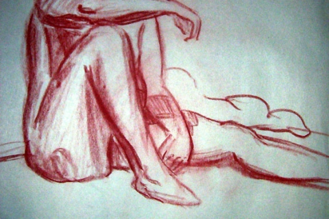 "Exercise: Figure Study3 ~ 18"" x 24"" Conte Crayon Illustration on Newsprint - Fall 2003 - Lansing Community College, Lansing, MI"