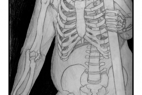 "Exercise: Skeleton - Figure Study - 18"" x 24"" Pencil & Conte Crayon Illustration - Fall 2003 - Lansing Community College, Lansing, MI"