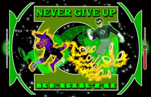 Exercise: Green Lantern Rebirth Tribute ~ Pencil & Ink Illustration + Digital Colors ~ Spring 2005 ~ Lansing Community College Comics Coalition (LC4) ~ Lansing, MI