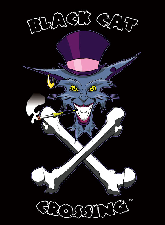 Client: Black Cat Crossing ~ Cat Cave Productions - Logo - Pencil & Ink Illustration + Digital Color & Text - 8/2009 ~ Chicago, IL