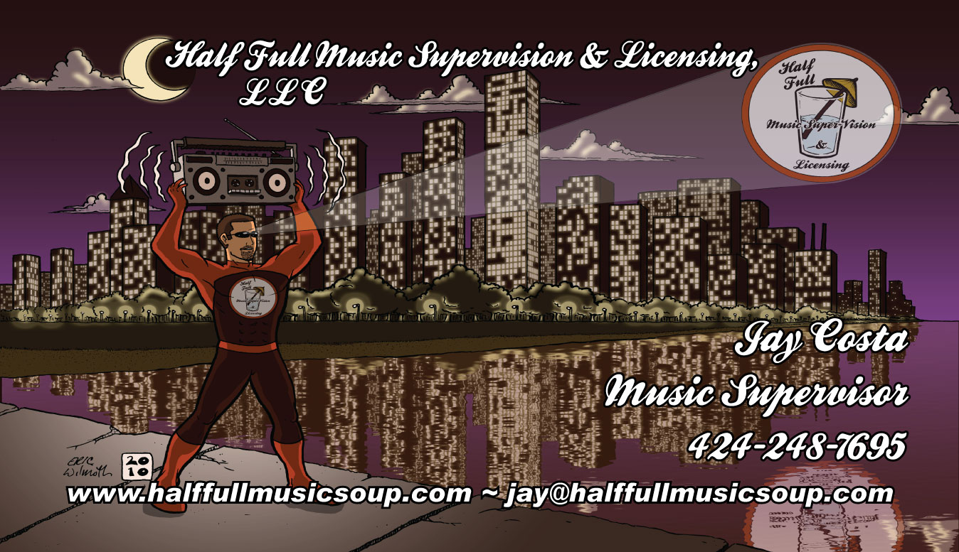 Client: Half-Full Music Super-Vision & Licensing, LLC ~ Business Card, Front ~ Illustration + Digital Colors & Text ~ 10/2010 ~ Chicago, IL