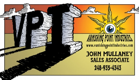 Client: Vanishing Point Industries ~ Business Card, Front ~ Illustration + Digital Colors & Text ~ Fall 2005 ~ Lansing, MI