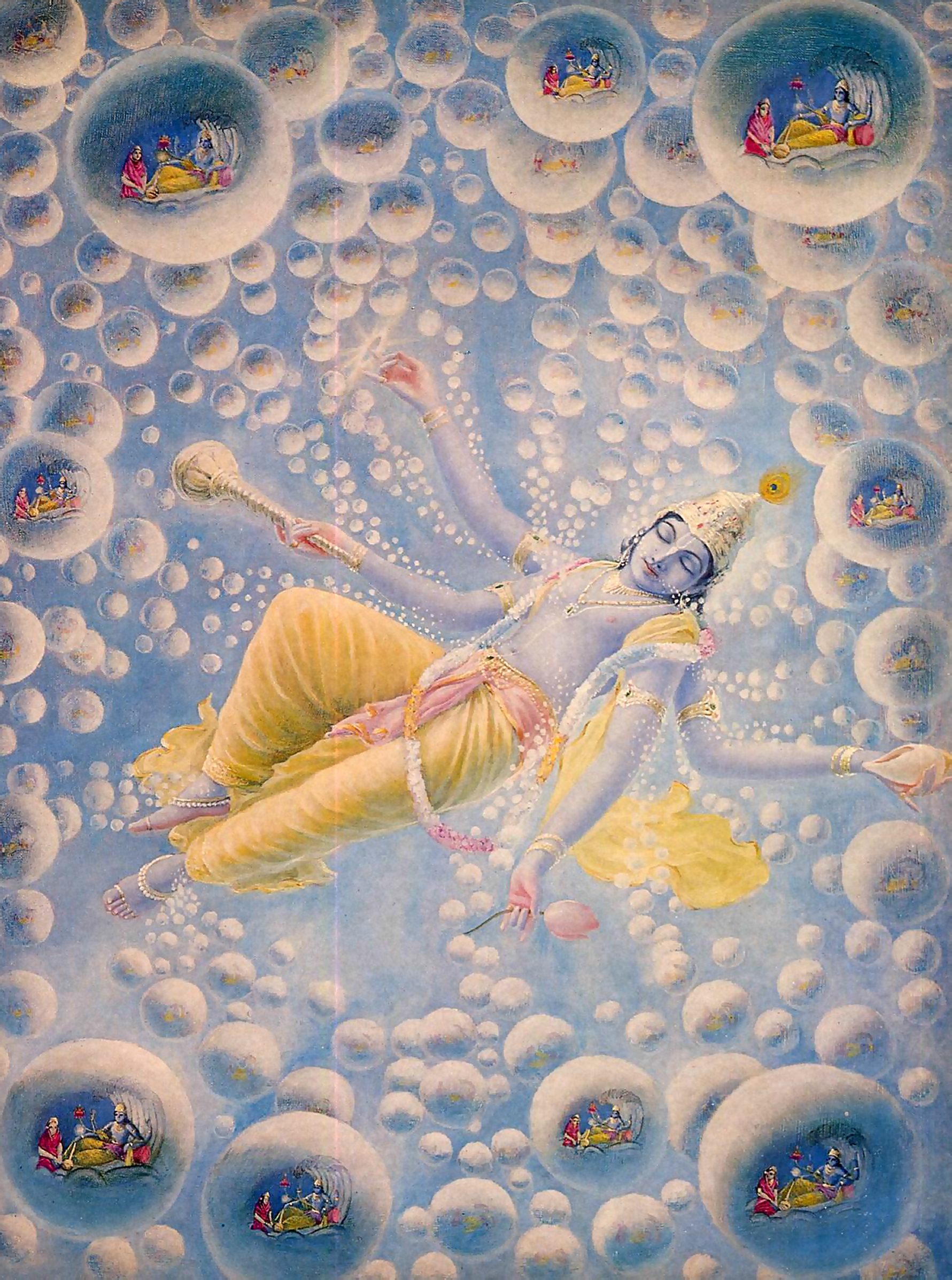This is a complex image. I have not determined its exact origins. It appears to depict a version of Vishnu/Krishna, which exists beyond space and time, sleeping and dreaming…surrounded by bubble universes, each depicting a similar scene of Krishna (presumably), in manifest form, communing with another figure from Hindu scripture.
