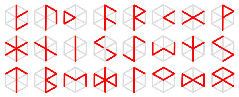 This image shows variations of the primary, 24 runes of the Nordic, Elder Futhark. The key to this image is that each rune may be found within the structure of the hexagon, when it includes all six, radial vertices, resembling a transparent cube.