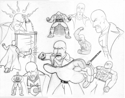 Personal: World's Ginchiest, Mister Midnight ~ Character Expressions ~ Pencil Illustration ~ Spring 2004
