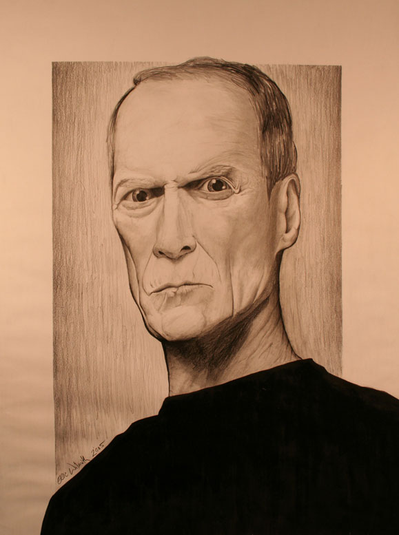 "Exercise: Clint Eastwood - Portrait - 18"" x 24"" Pencil & Ink Illustration - Spring 2005 - Lansing Community College, Lansing, MI"