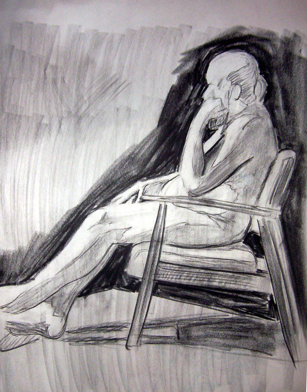"Exercise: Figure Study1 ~ 18"" x 24"" Conte Crayon Illustration on Newsprint - Fall 2003 - Lansing Community College, Lansing, MI"