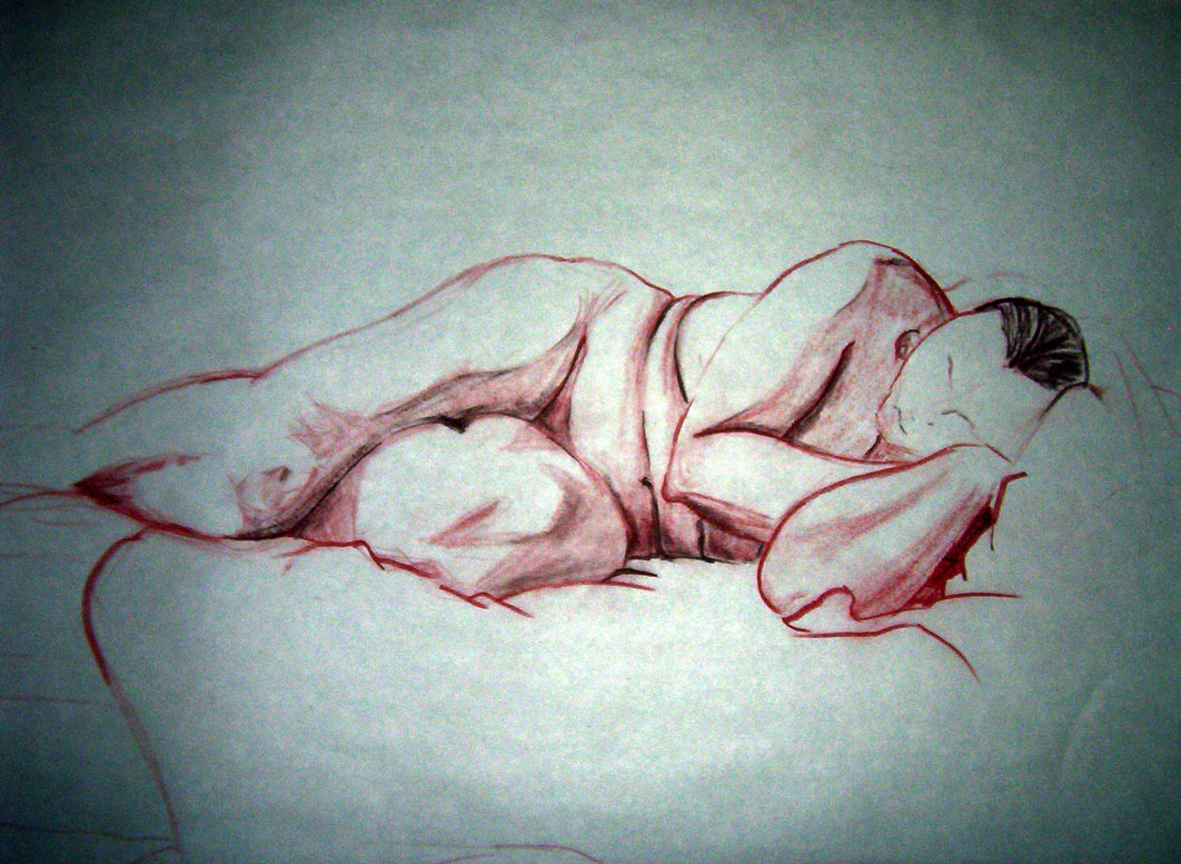 "Exercise: Figure Study2 ~ 18"" x 24"" Conte Crayon Illustration on Newsprint - Fall 2003 - Lansing Community College, Lansing, MI"
