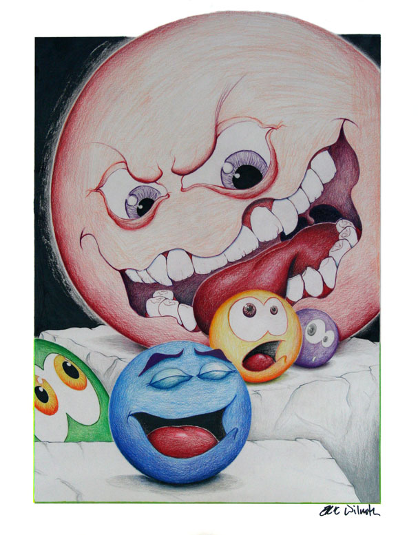 "Exercise: Mad Balls - Figure Study - 18"" x 24"" Colored Pencil Illustration - Spring 2005 - Lansing Community College, Lansing, MI"