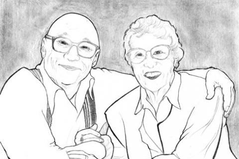 Personal: Grandparents ~ Portrait & Spiritual Reflection ~ Pencil Illustration ~ 7/2004