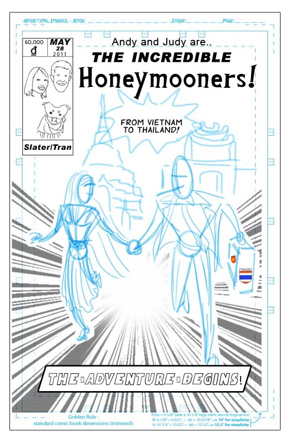 Honeymoon Comic Cover ~ Client: Joe Hausfeld ~ Chicago, IL ~ 2011 (Roughs)