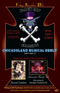 Client: Black Cat Crossing – Cat Cave Productions - Concert Poster ~ Illustration + Adobe Illustrator ~ 4/1010 ~ Chicago, IL